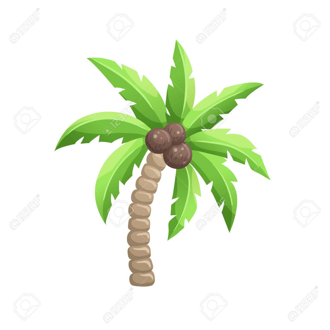 Bright Cartoon Palm Tree Icon Colorfulcoconut Symbol Isolated On White Background Vector Illustration