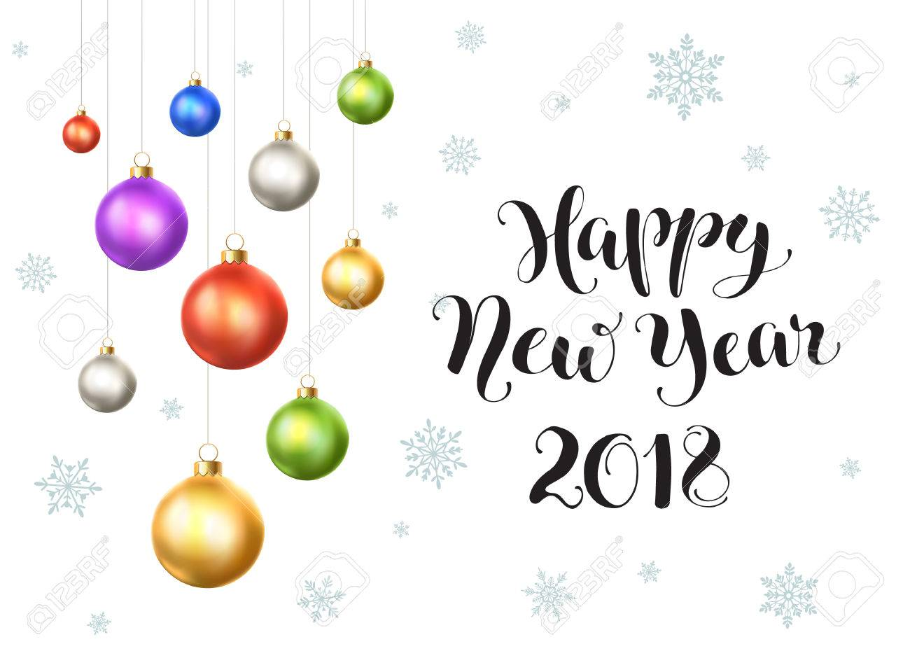 happy new year 2018 postcard template modern lettering with snowflakes and christmas balls isolated on