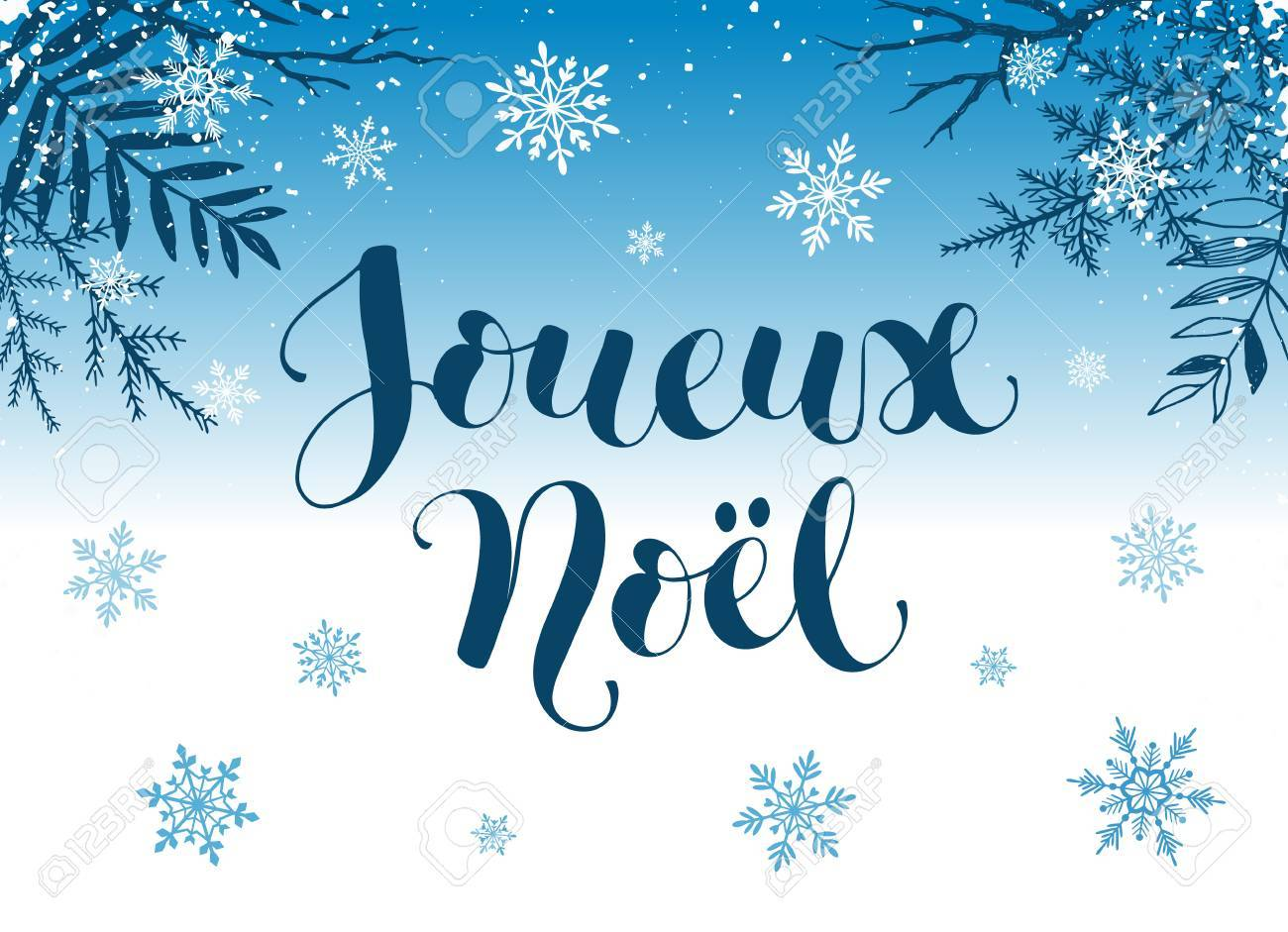 Joueux noel greeting card template modern holidays lettering joueux noel greeting card template modern holidays lettering with snowflakes and branches on blue background kristyandbryce Image collections
