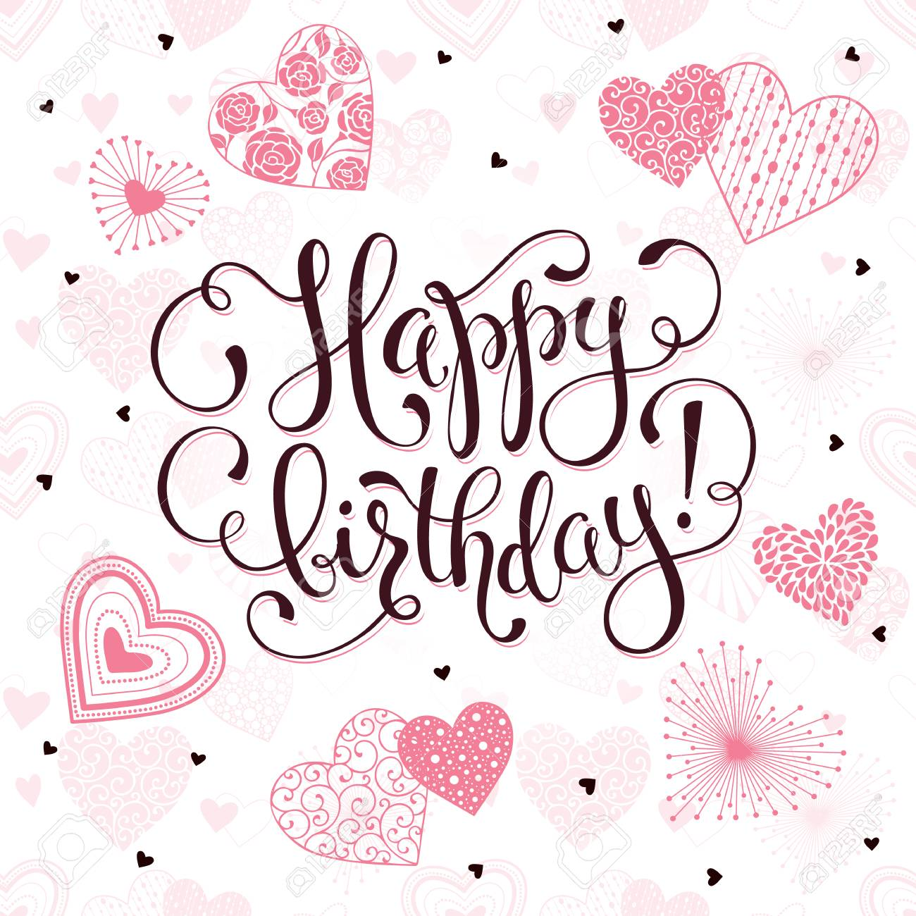 Happy Birthday Greeting Card Romantic Hearts With Calligraphic