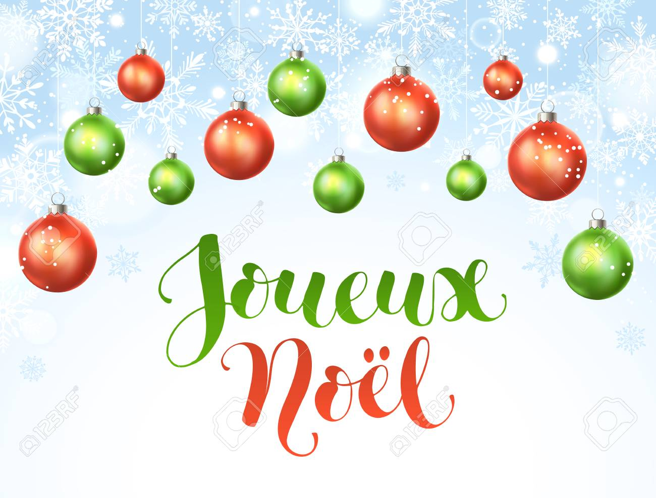 Christmas In French.Merry Christmas French Text Vector Illustration Modern Winter