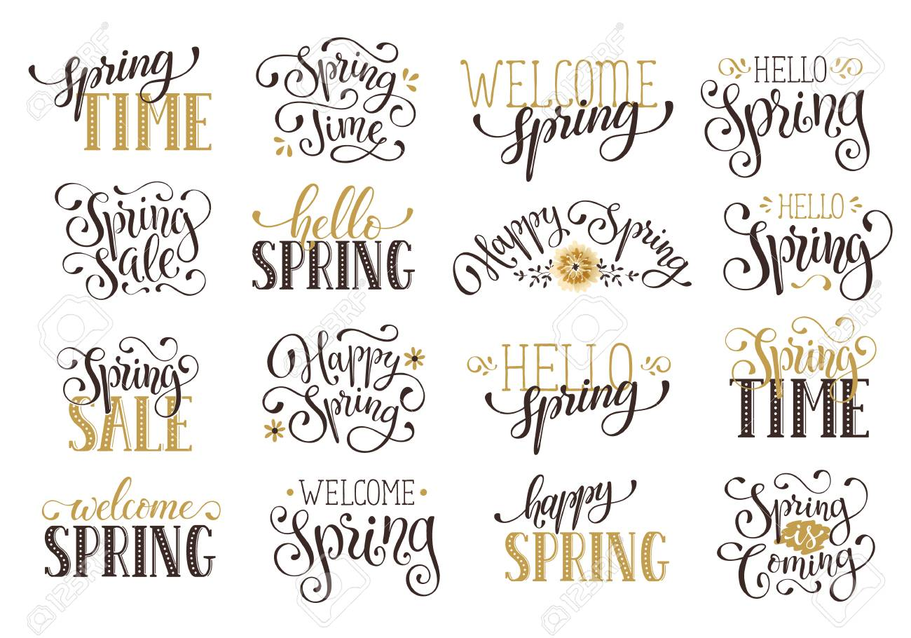 Hand written vector spring time phrases in black and gold greeting hand written vector spring time phrases in black and gold greeting card text templates on m4hsunfo