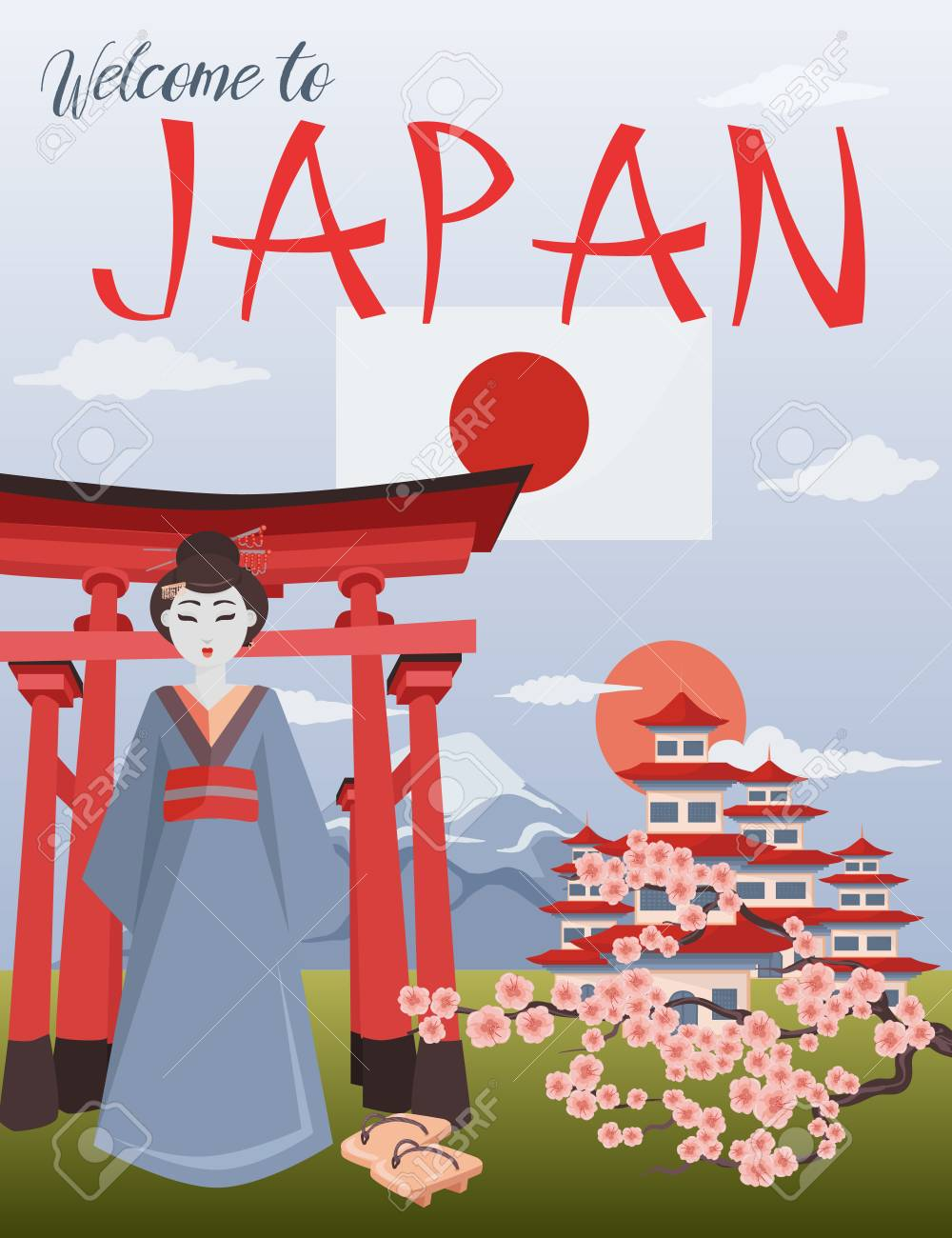 Welcome To Japan Poster Japanese Symbols Vector Illustration Royalty Free Cliparts Vectors And Stock Illustration Image 114818880