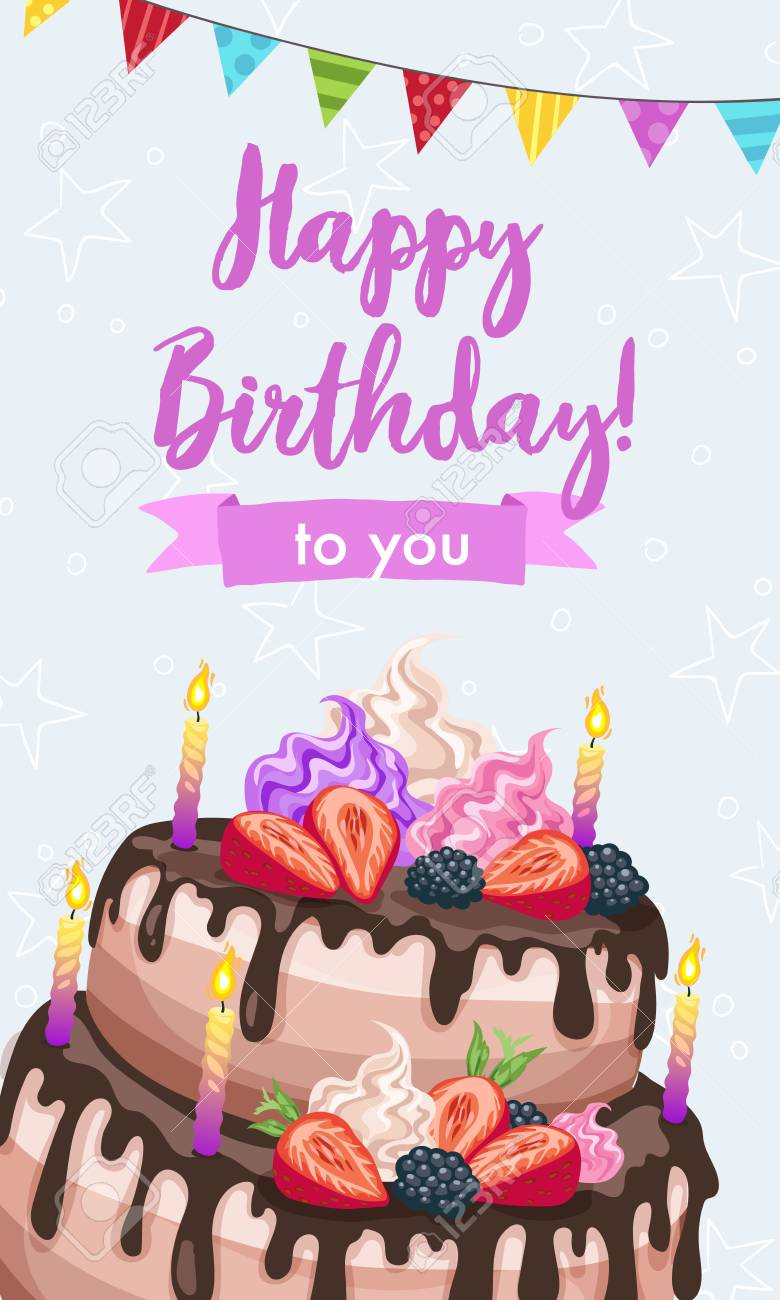 Bright Birthday Cakes Vector Illustration Gift Card Design Template Happy Greeting In