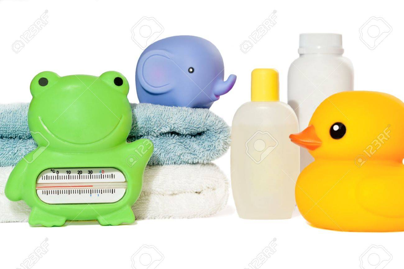 Baby Bath Accessories Isolated: Towels, Toys, Thermometer And ...