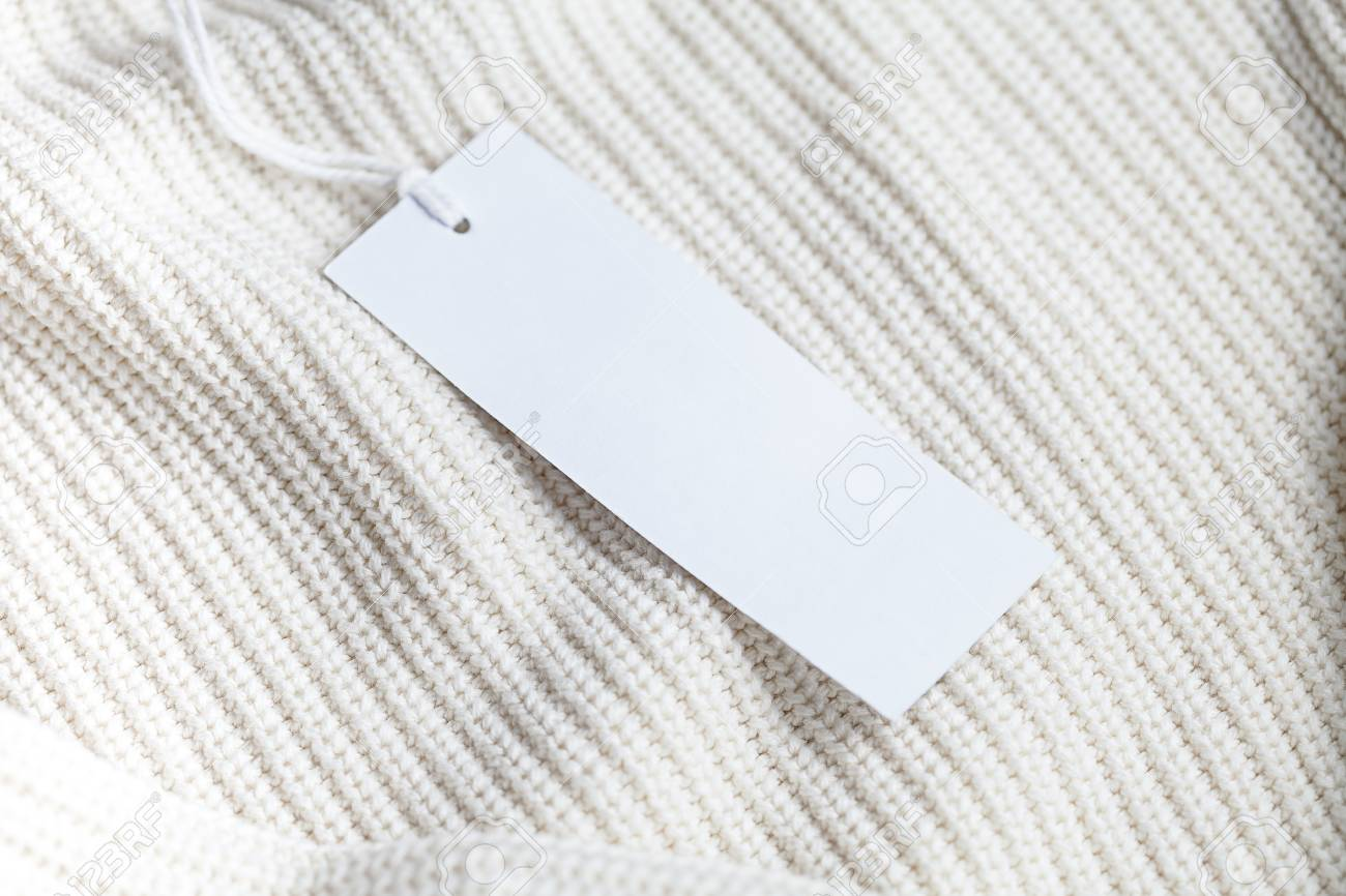 Clothes Label Tag On Cloth Background Blank White Branding Template ...