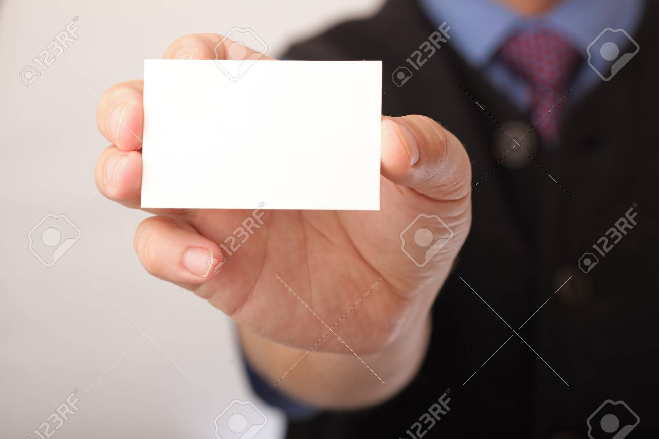 Businessman Showing Business Card - Focus On Fingers And Card ...