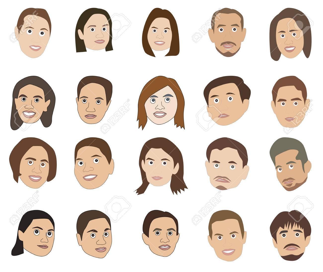 illustration of cartoon avatar human faces royalty free cliparts