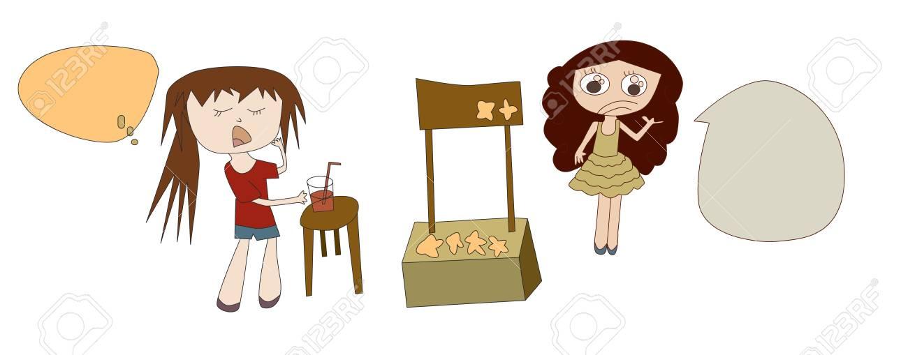 Vektor-Illustration Von Mädchen Kauf Süße Speisen Und Getränke An ...