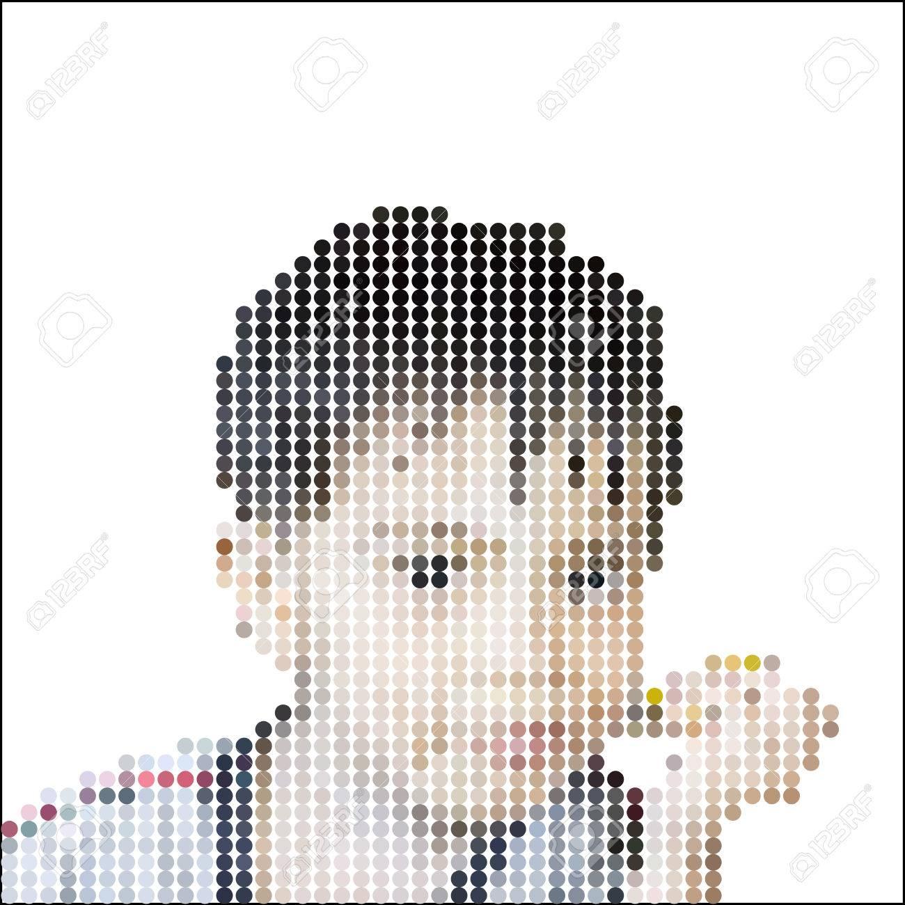 Vector Illustration Dot Pixel Mignon Petit Garçon Mangeant Des Mangues