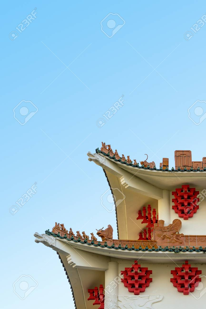 modern building with chinese inspired architecture featuring stock