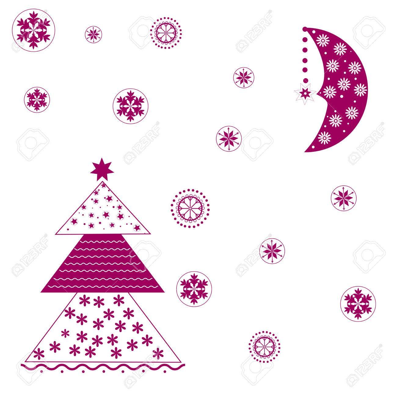 Dessin Lune Etoile Arbre De Noel Des Flocons De Neige Banque D