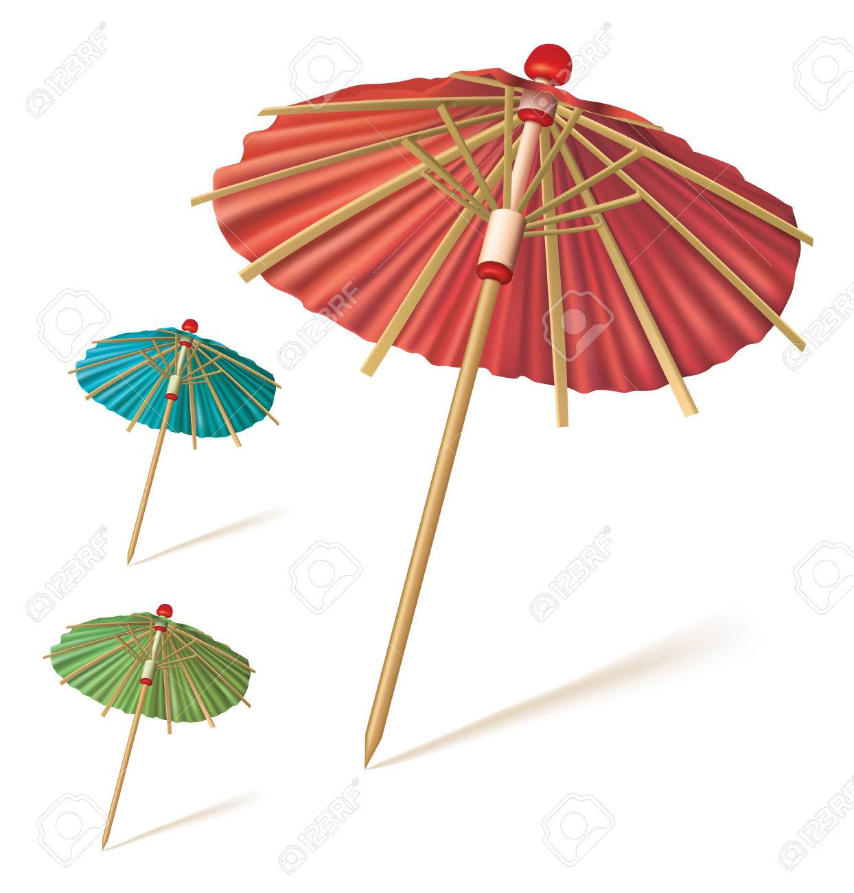 Cocktail Umbrella Isolated On A White Background Red Blue Green Paper Or Drink