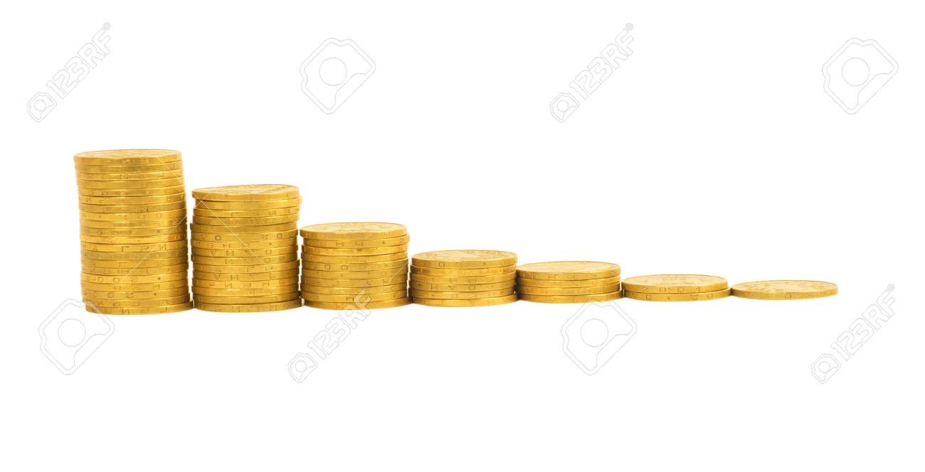 graph of the columns of coins isolated on white background Stock Photo - 12746864