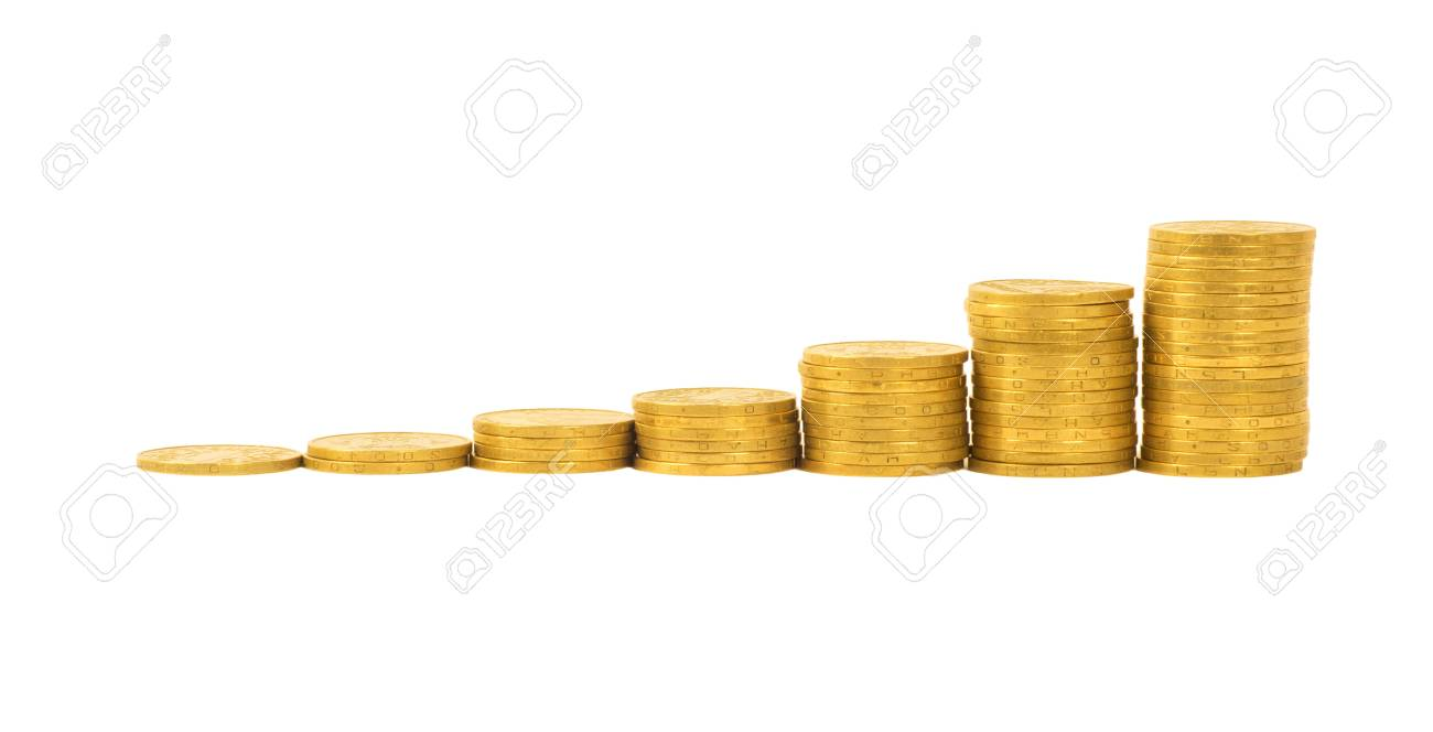 Graph Of The Columns Of Coins Isolated On White Background