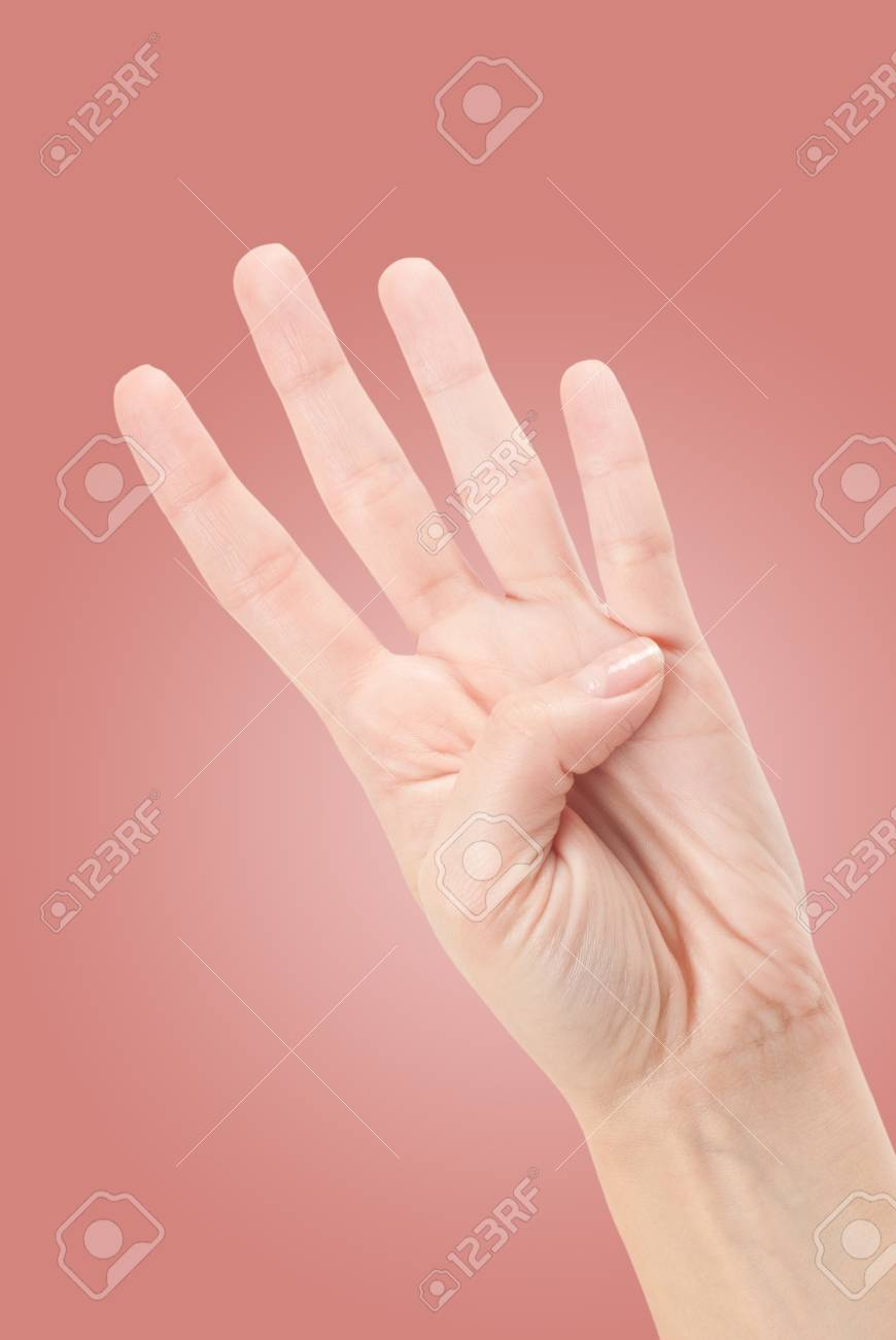 Hand Gesture - Number Four isolated on white Stock Photo - 13755796