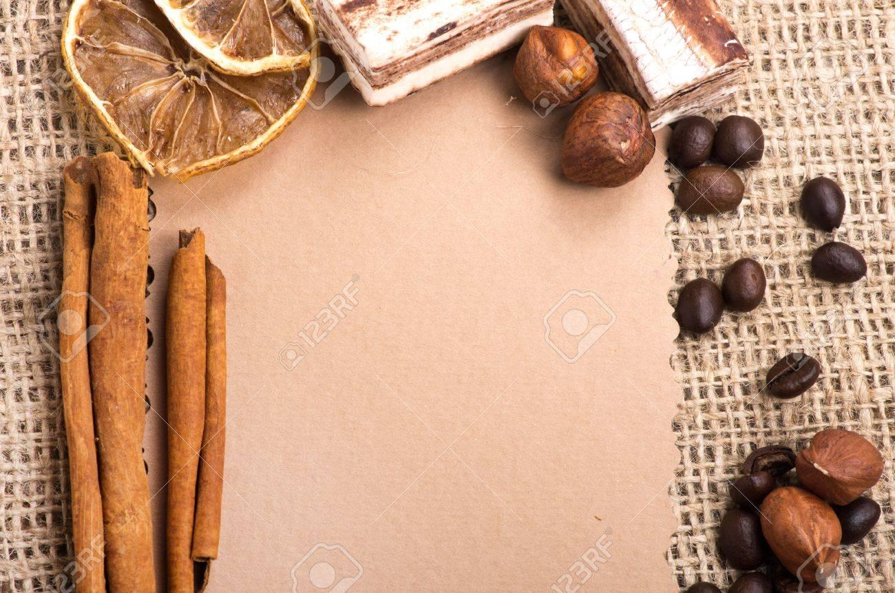 Menu Design. Old paper, coffee bean, cinnamon, lemon, burlap. Stock Photo - 15317339