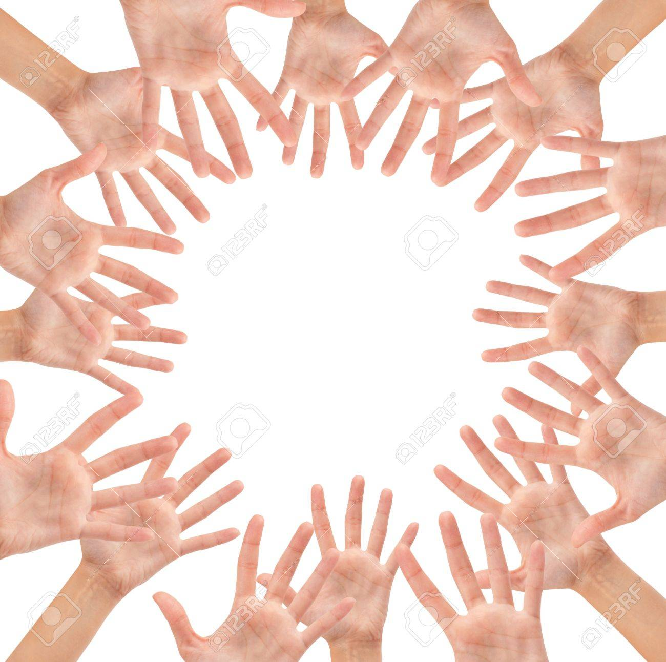 Circle made of hands isolated on white background Stock Photo - 16473723