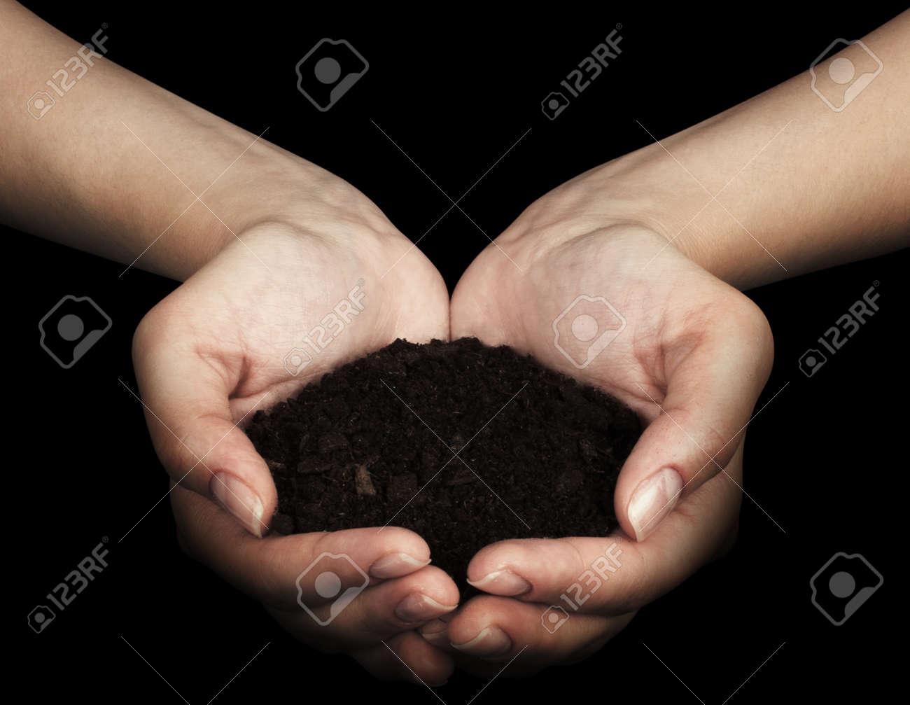 Brown Land and humman hand  on hand Stock Photo - 17370031