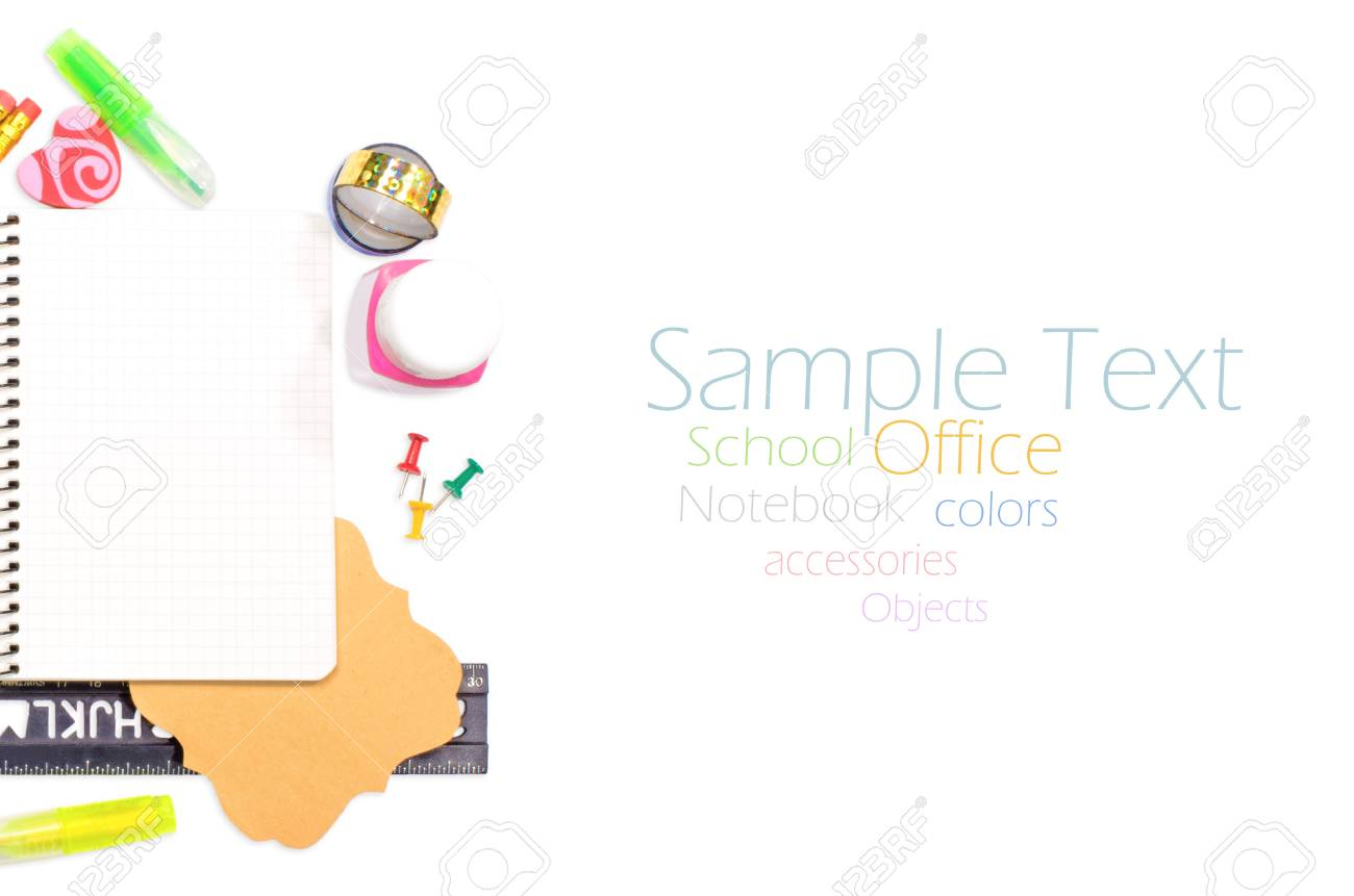 Photo of office and student gear over white background - Back to school concept Stock Photo - 17462980