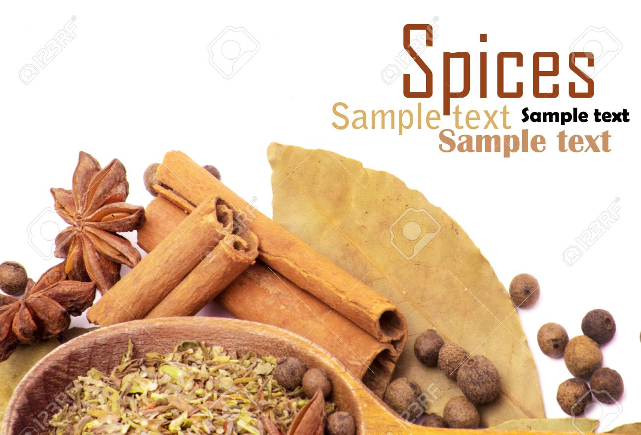 Spices border isolated on white Stock Photo - 17484215
