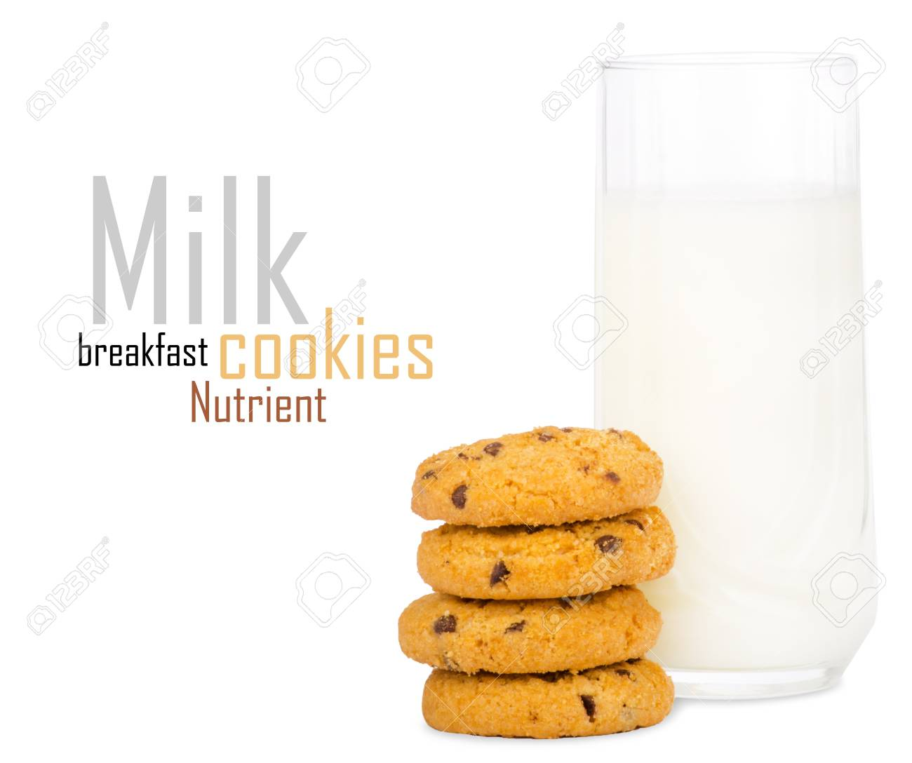 Glass of milk and cookies isolated on white Stock Photo - 18647340