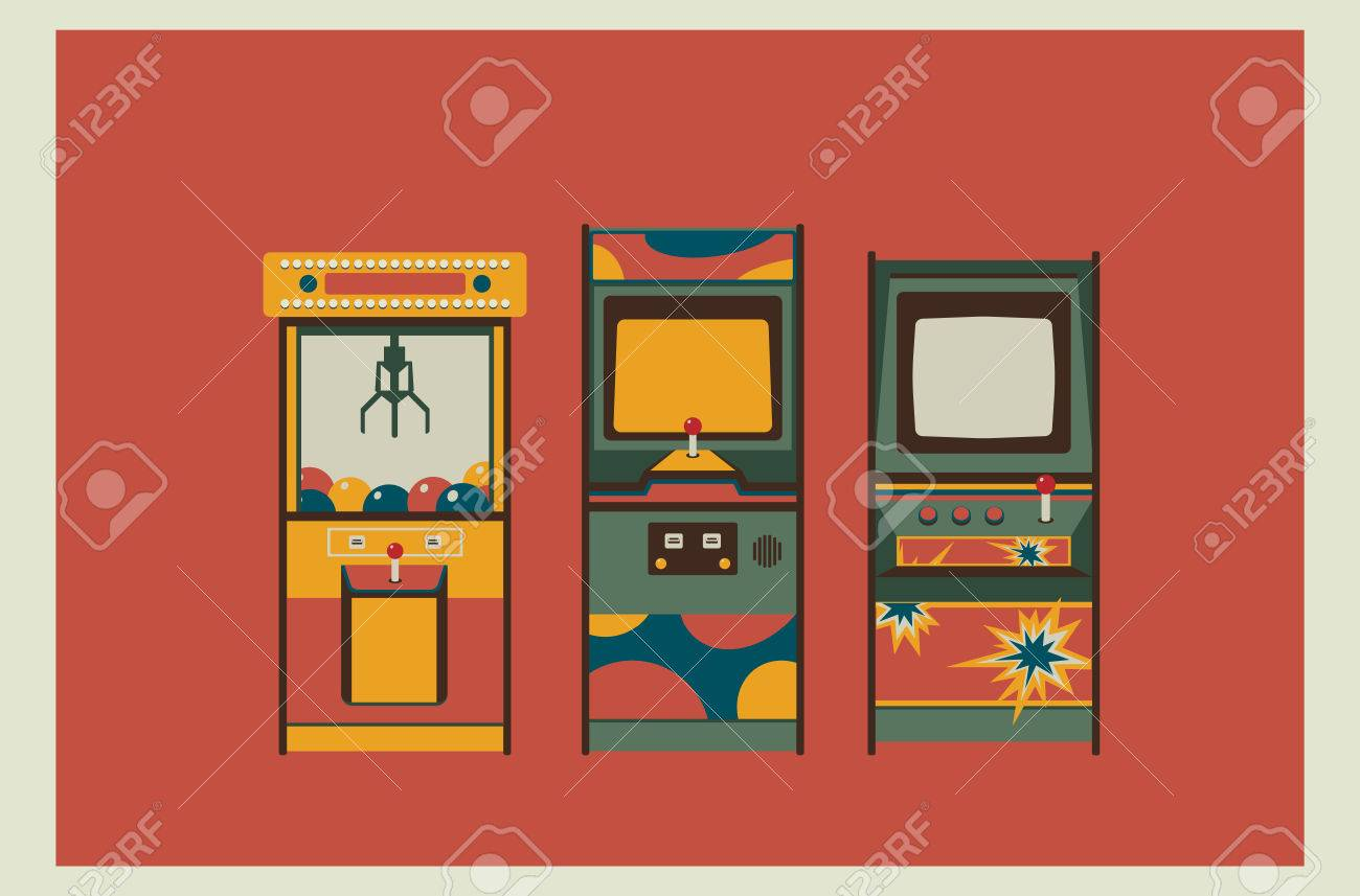 arcade game machines and claw machine retro colors flat design
