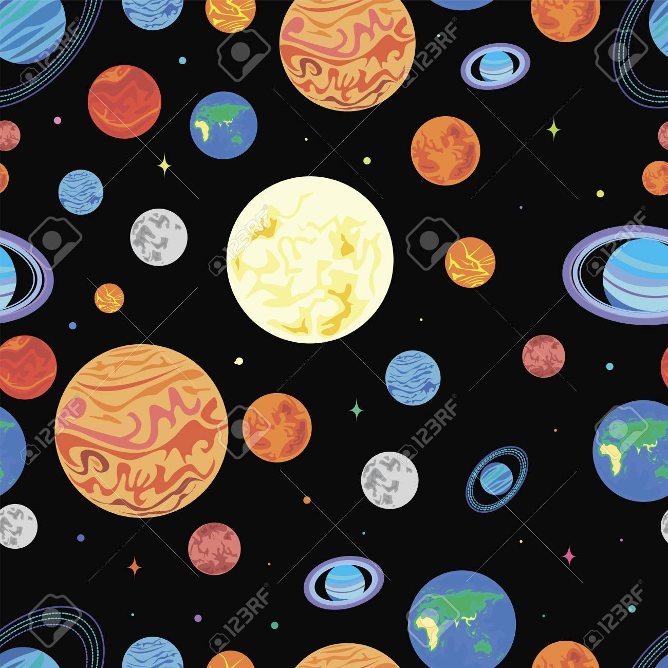 Pattern Planets Of The Solar System Bright Color Space Stars