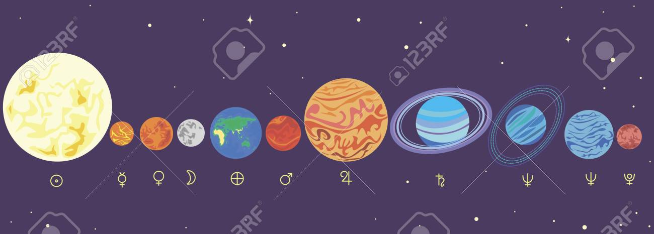 Collection Funny Cartoon Bright Planets Solar System In Order Vector Illustration Planet Isolated
