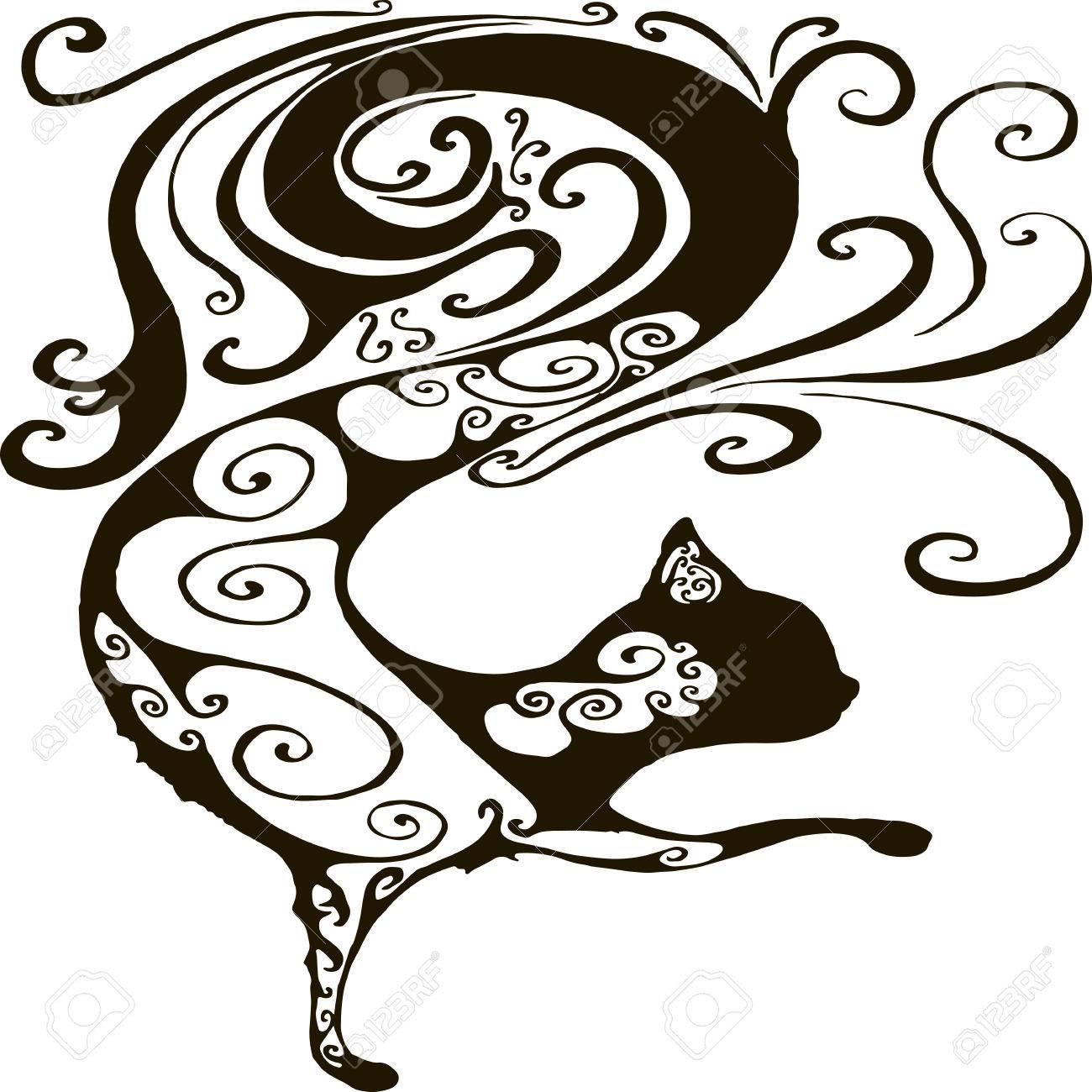 白い背景に分離された猫のベクター イラスト シルエット黒猫の中の