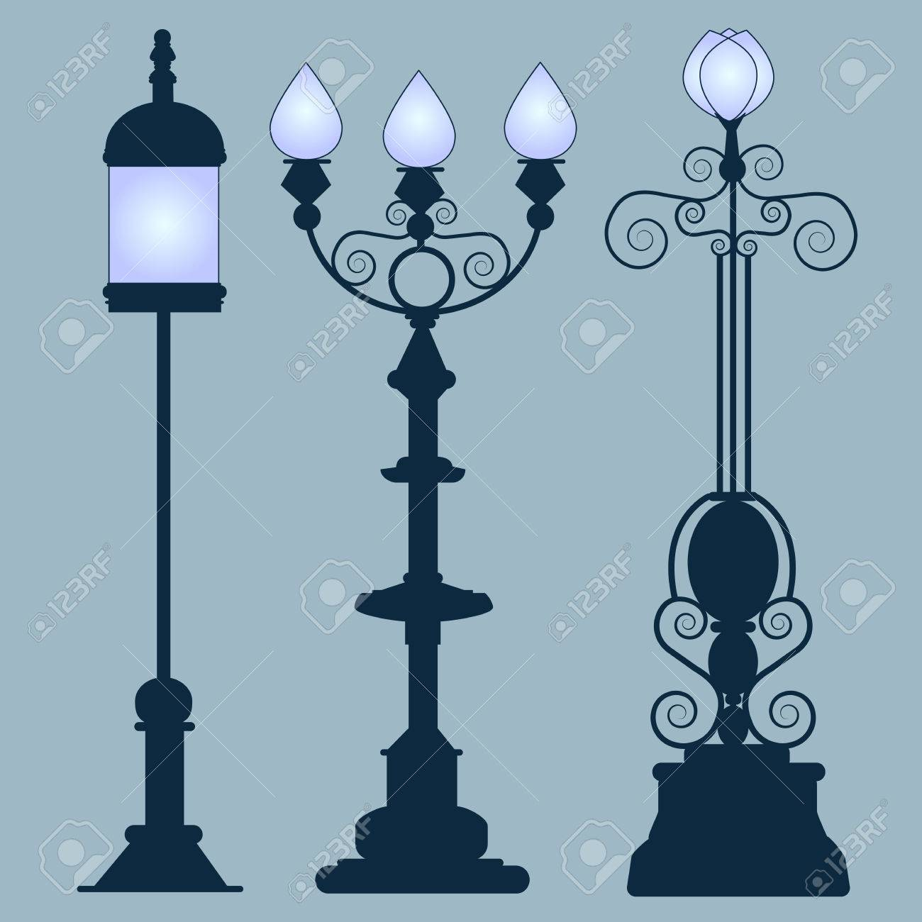 Set Vintage Garden Lamps. Collection Street Lamps Art Nouveau Style,  Isolated Gray Background. Figured Forged Street Lights.