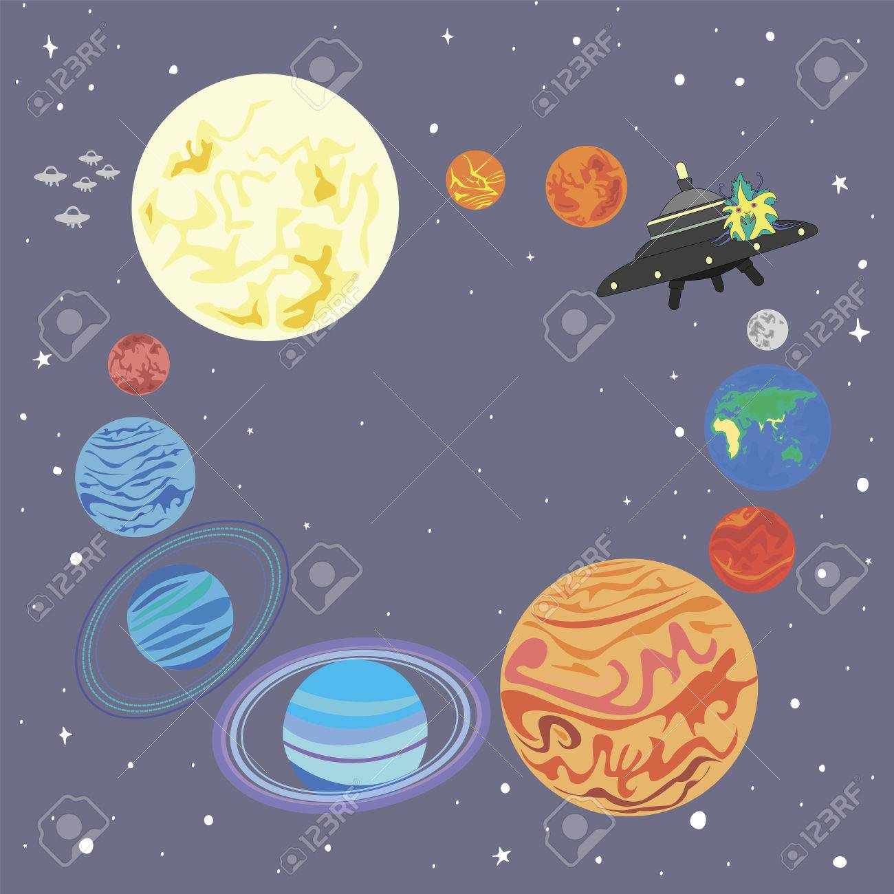 Solar System And A Funny Alien On Flying Saucer Isolated Frame Planet