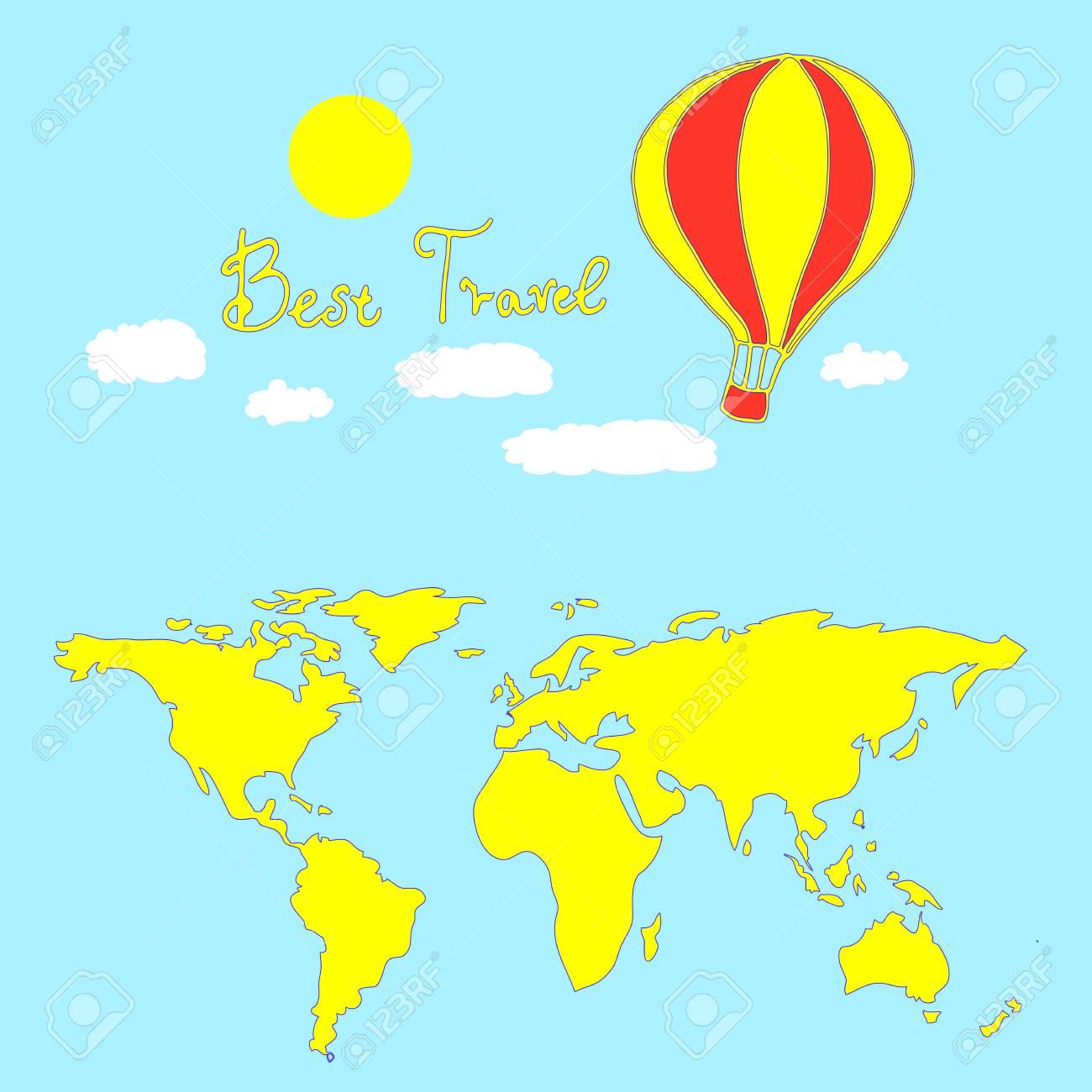 Meilleure Carte De Voyage Fond Céleste Isolé Illustration Vectorielle Dune Carte De Dessin Animé Ballon Et Monde Dessiné à La Main Pages De