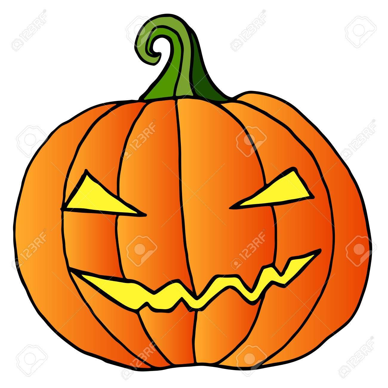 Visage De La Citrouille De Dessin Anime Heureux Halloween Fou