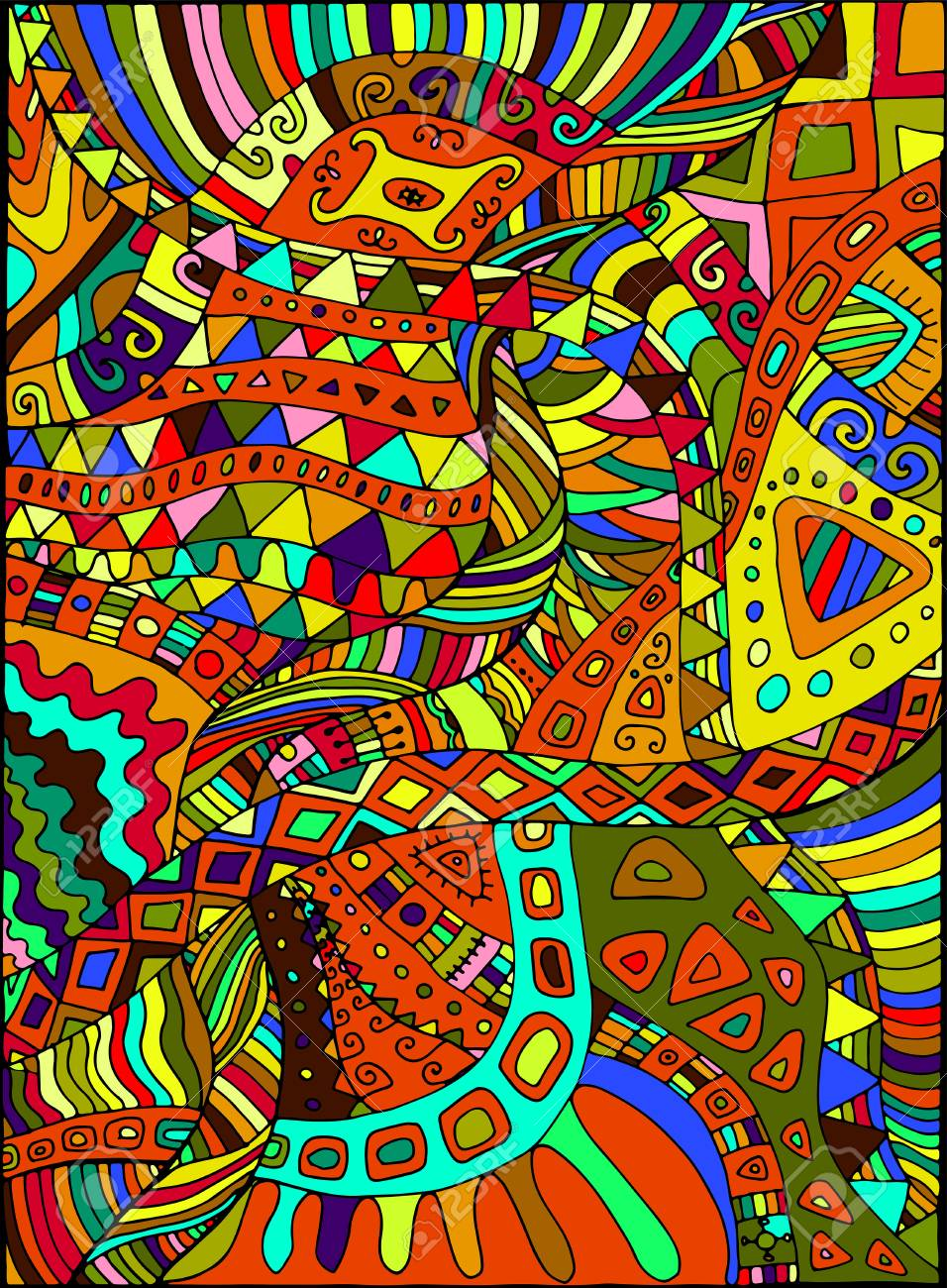 Beautiful decorative psychedelic hippie background vector beautiful decorative psychedelic hippie background vector hand drawn illustration stock vector 84351495 voltagebd Choice Image