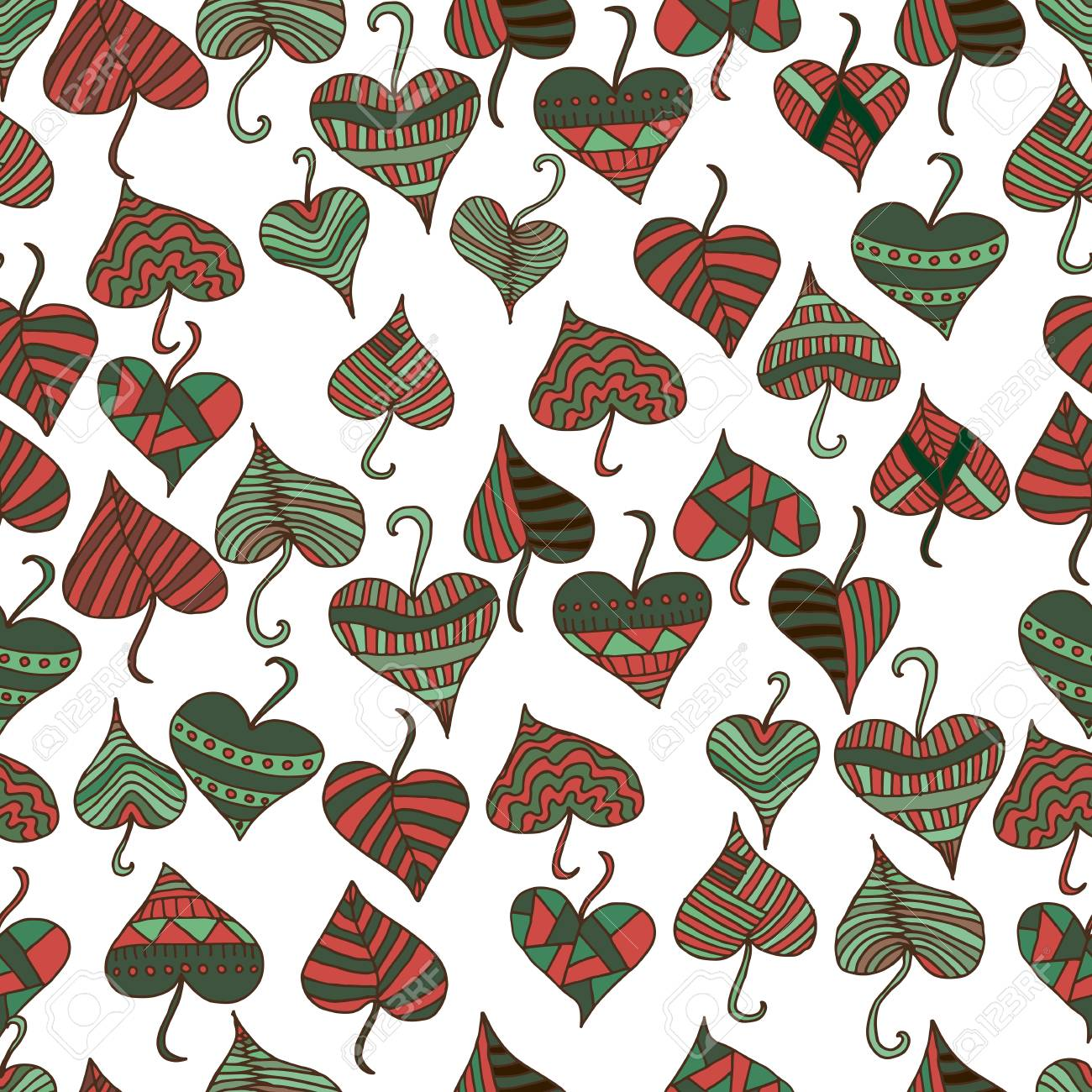 Decorative Patterned Leaves In A Red Green Brown Color On White Background