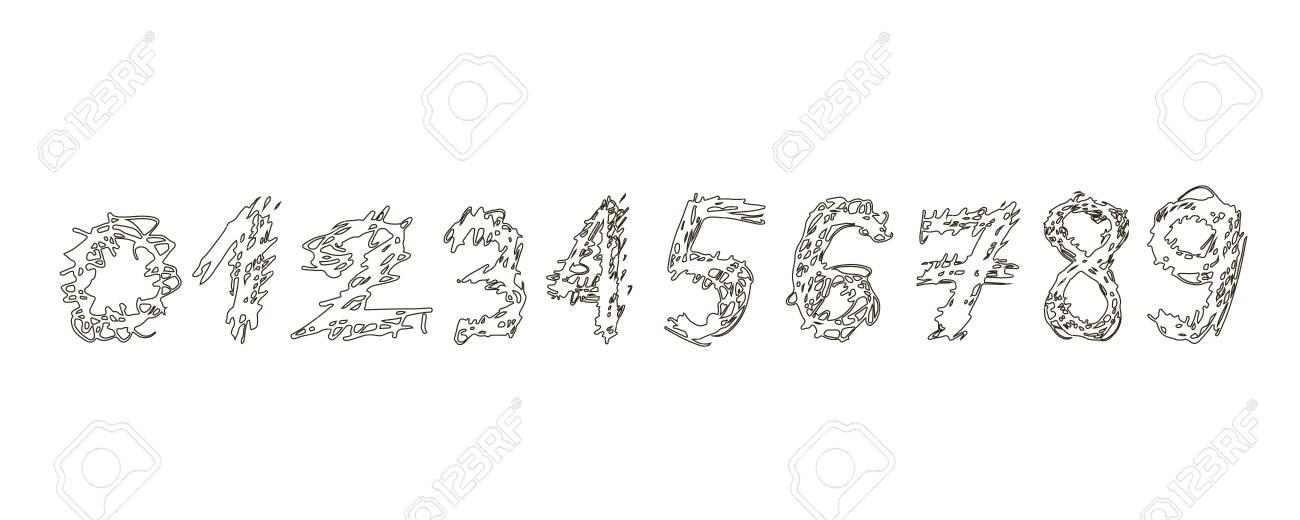 0 から 9漫画のスタイルは白い背景で隔離に黒の白い数字の装飾の