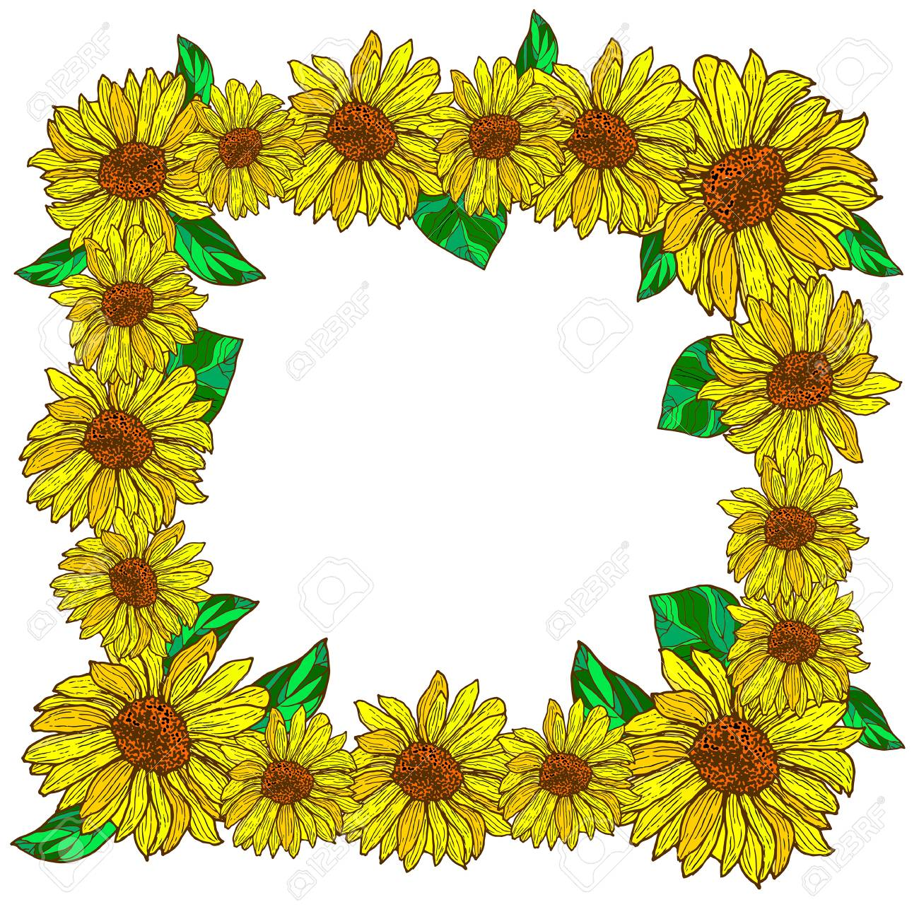 Flower Decorative Frame With Sunflowers Cartoon Style Vector Hand Drawn Illustration Blossoming Sunflower