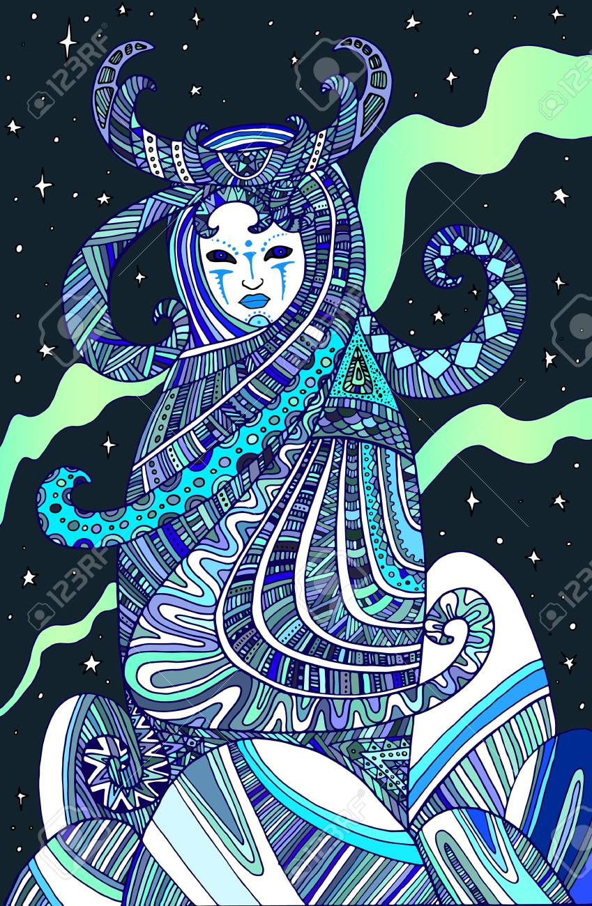 Colored page boho woman shaman, for children and adults  Vector
