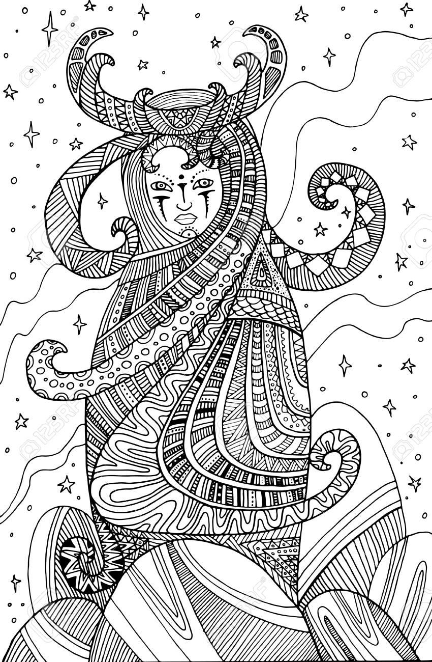 Chaman Femme Surrealiste Page A Colorier Pour Enfants Et Adultes