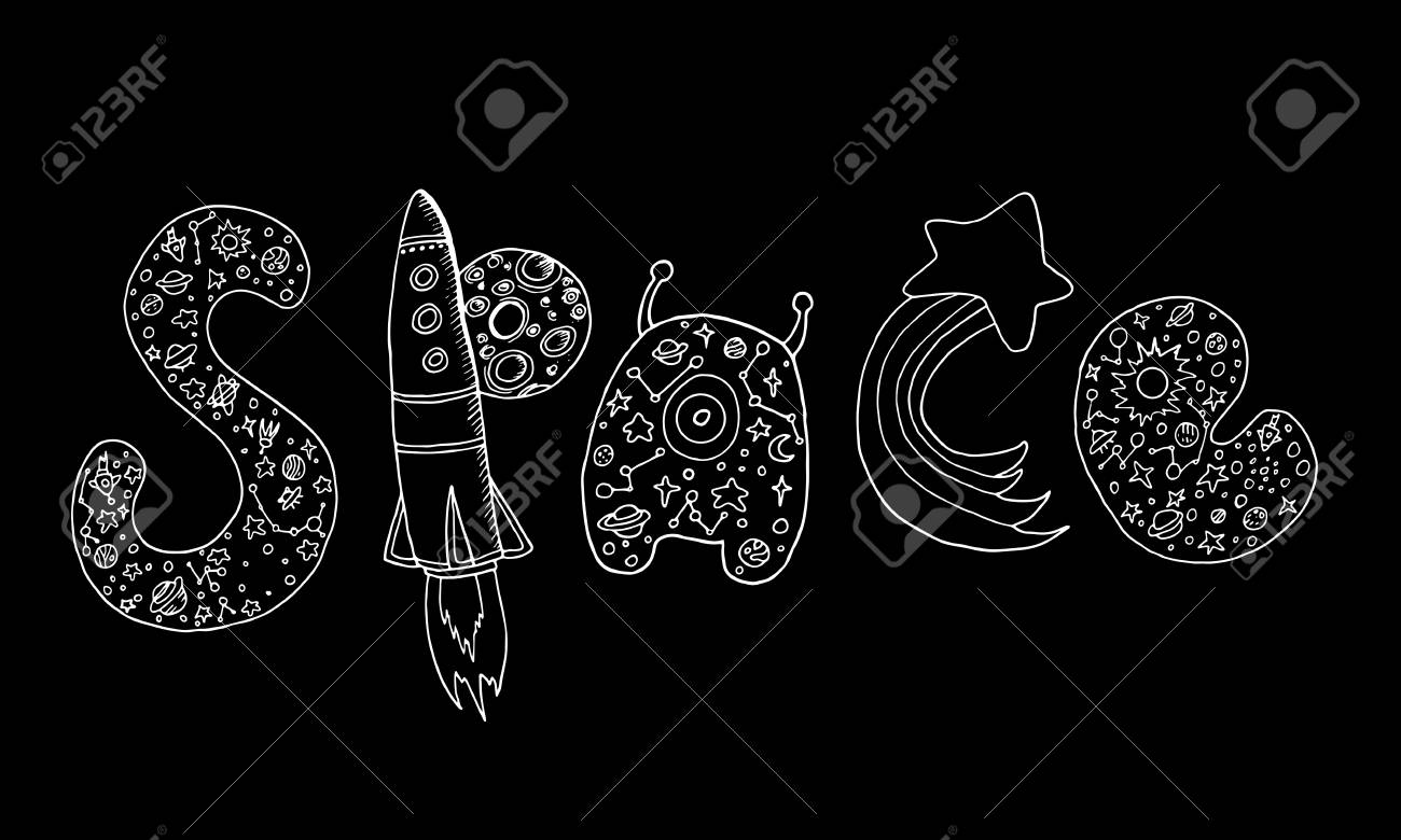 Art Design Decorative Word Space Doodle Sketch Style Vector Hand Drawing Letters With A