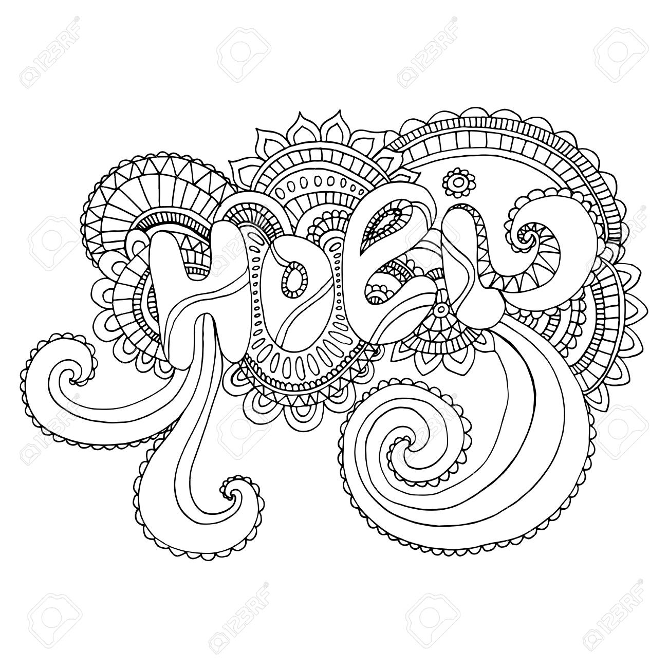 Coloring Page Word Holi To The Indian Holiday On Background Mandala