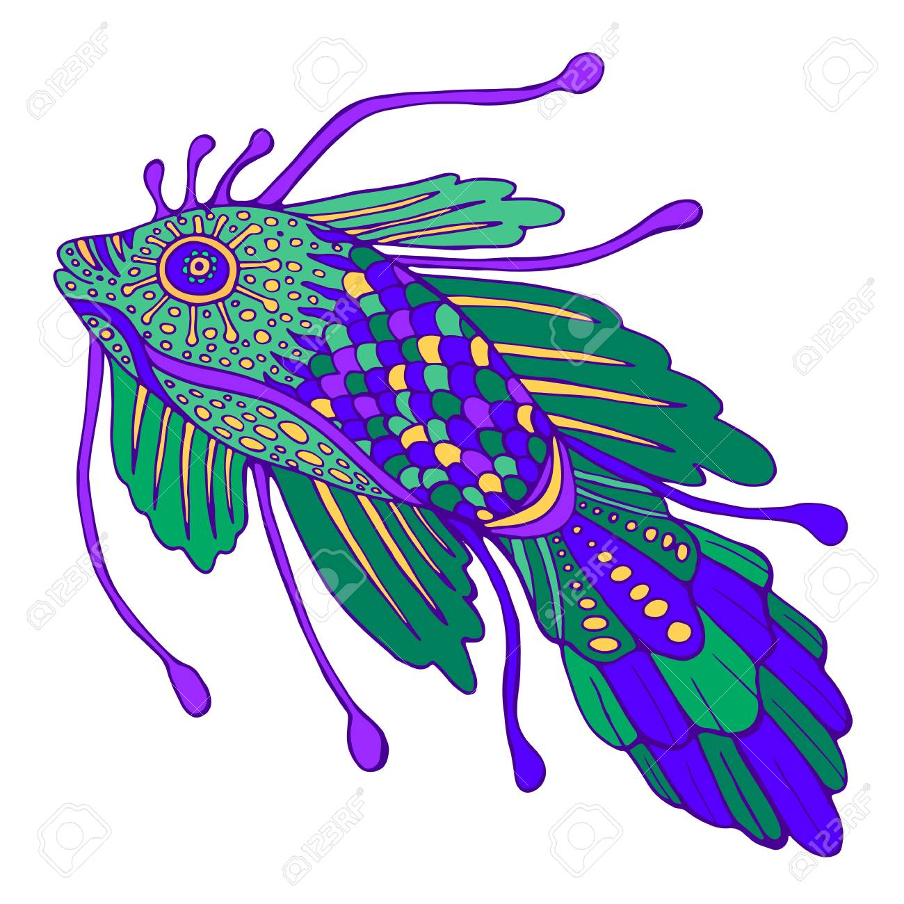 Fantasy Decorative Fish Pastel Color Vintage Style Isolated
