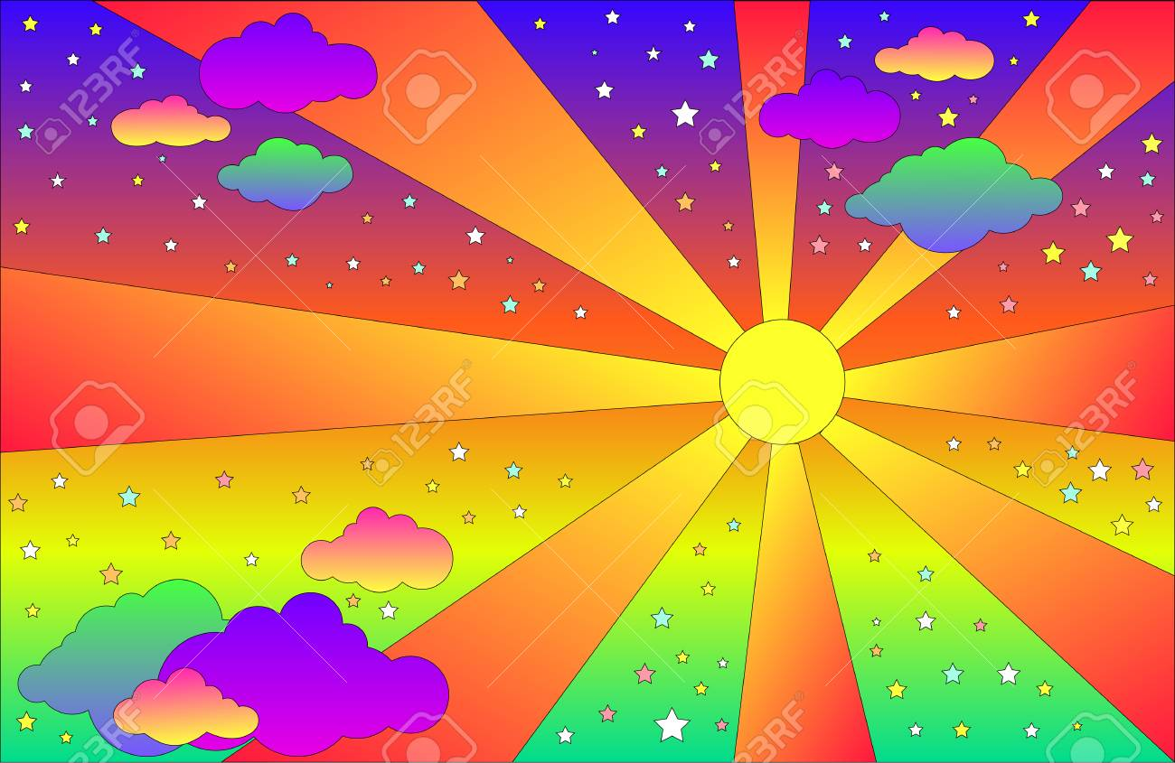 Vintage Psychedelic Landscape With Sun And Clouds Stars Vector