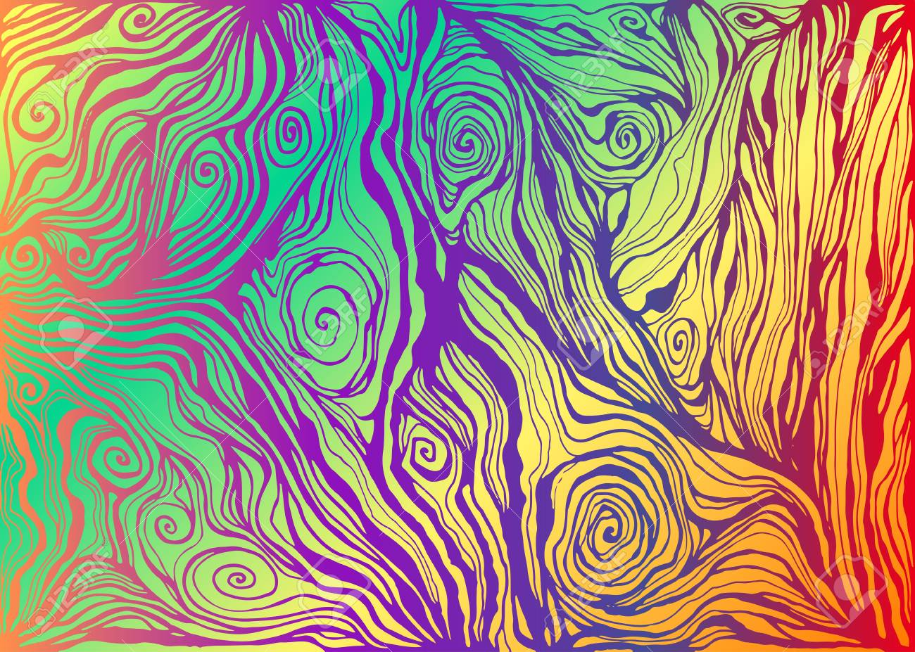 Psychedelic Colorful Art Waves Decorative Texture Vector Hand