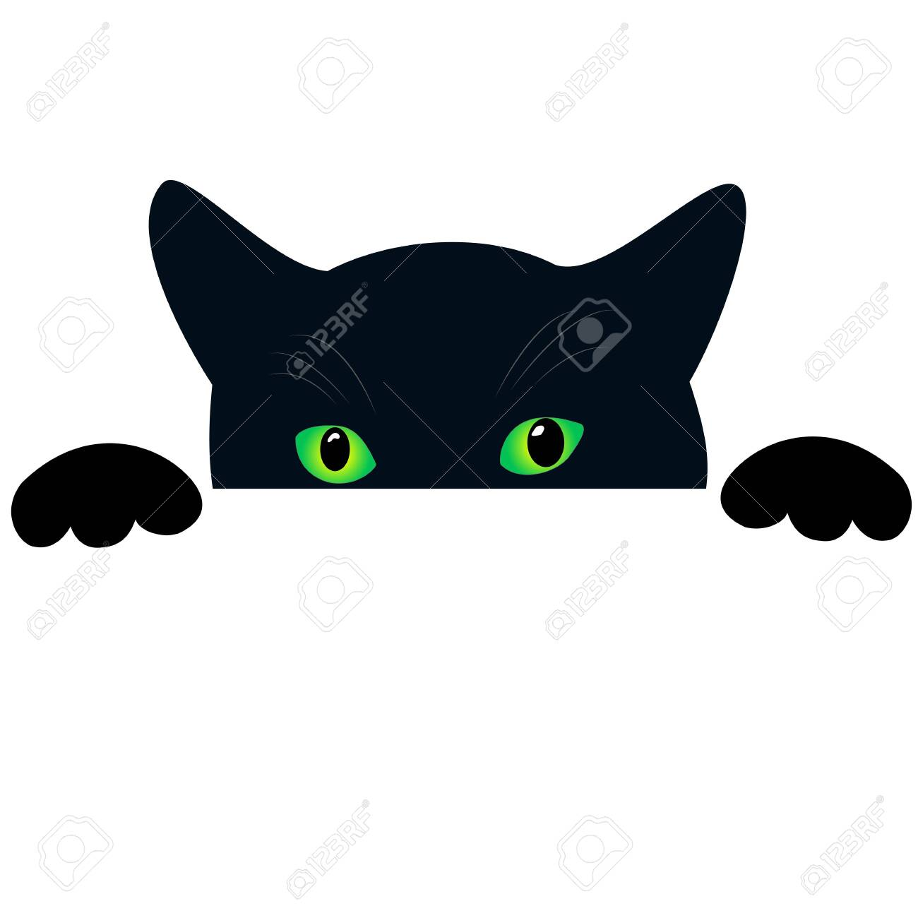 Cute Black Cat Face With Green Eyes Peekings Isolated White