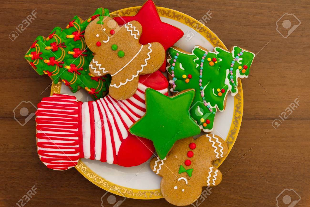 Plate With Tasty Festive Christmas Cookies In The Shape Of Christmas