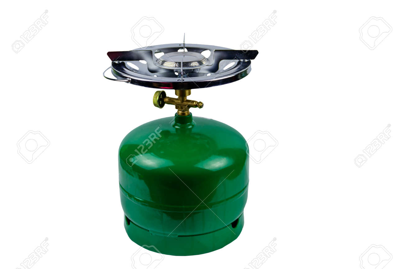 Green propane gas cylinder with burner isolated on white background - 154959455