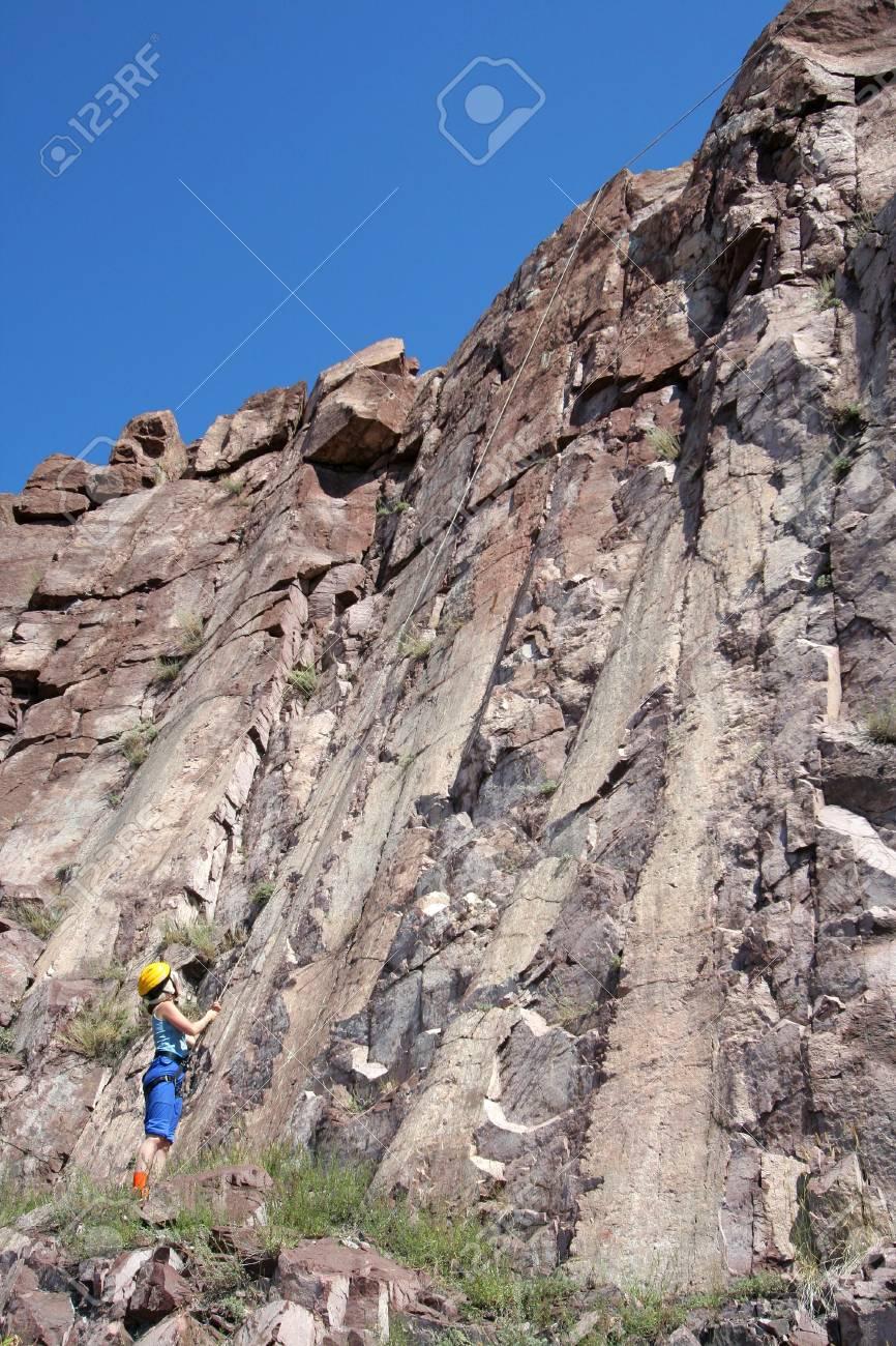 woman ready to climb on the rock Stock Photo - 2085832