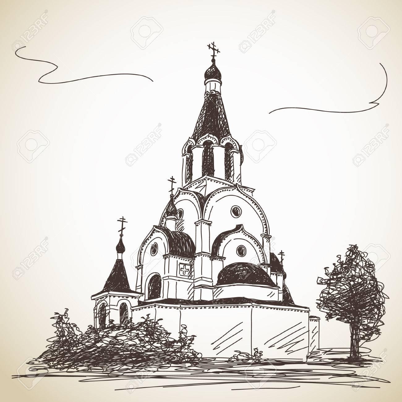 Sketch Of Russian Orthodox Church. Hand Drawn Illustration Royalty ...